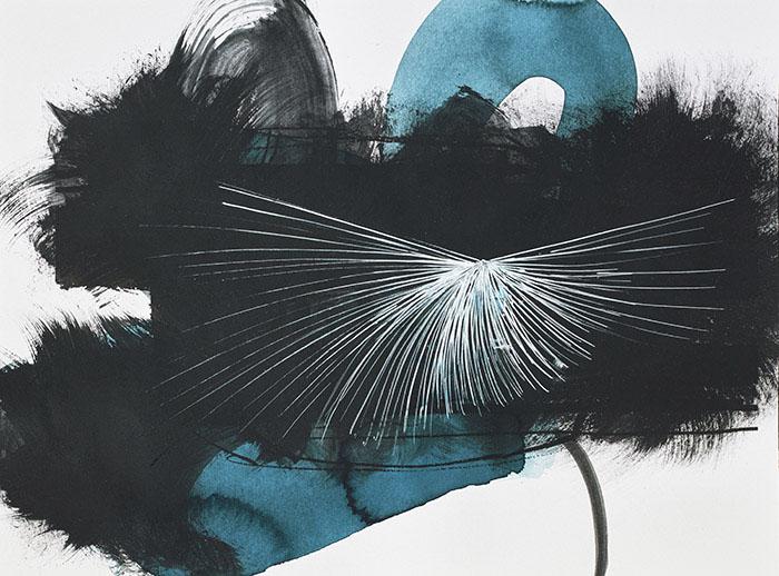 Fleurs d'obscur n°1 - 24 x 32 cm - encre, acrylique et feutre sur papier 2017
