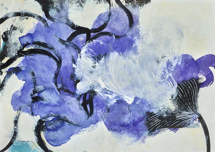 Fleurs d'obscur n°3 - 24 x 32 cm - encre, acrylique et feutre sur papier 2017