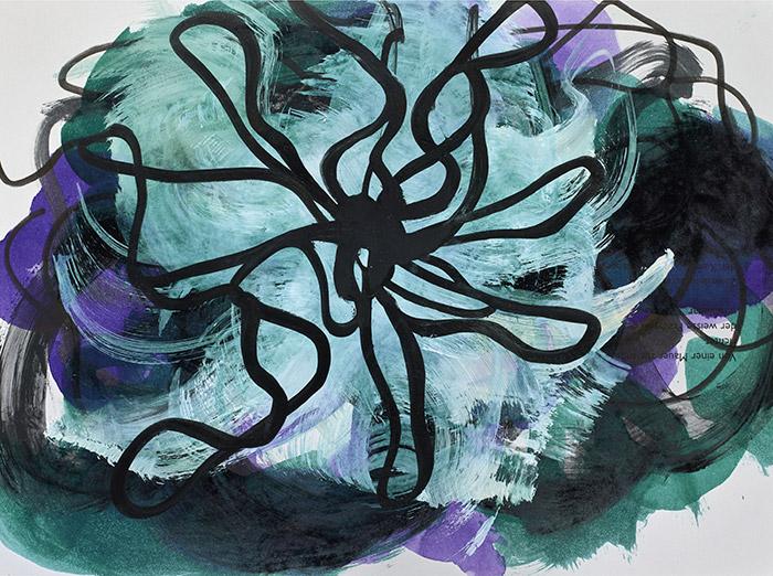 Fleurs-d'obscur n°4 - 24 x 32 cm - encre, acrylique et feutre sur papier 2017